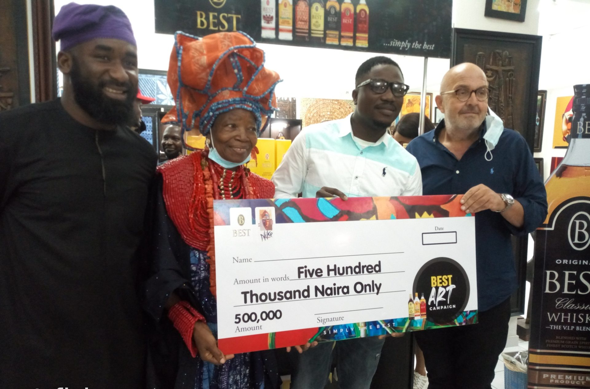 From right: Managing Director of Best, Heiko Arjes; Artist, Adewale Ojo, 1st Prize winner of Best Art Exhibition contest; Chief Dr (Mrs.) Nike Okundaye-Davies, Artist and proprietor of Nike Art Gallery; and Funbi Funbi, OAP/Comedian, during the Best Art Exhibition at Nike Art Gallery, Lagos.